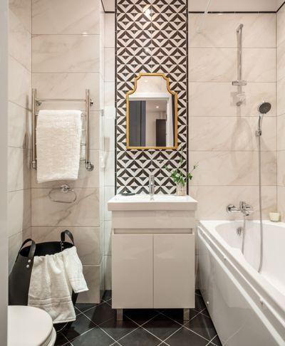 Современный Ванная комната Жк Водный. Монохромная графика