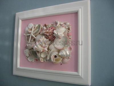 Декор из морских ракушек на стене