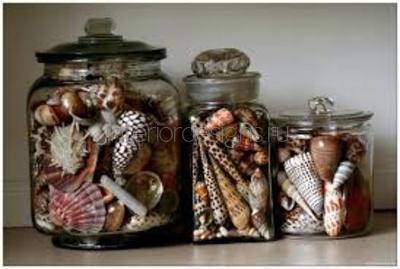 Декор из морских ракушек в банках