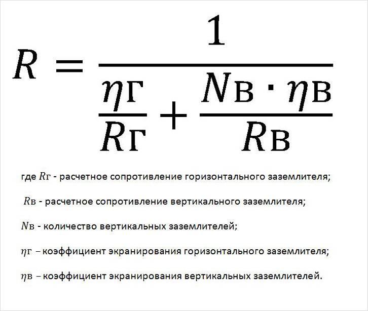 Формула для расчета сопротивления контура заземления